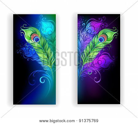 Two Banners With Peacock Feathers