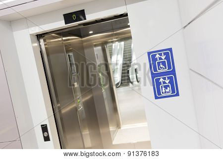 Opened Elevator For Mothers And Physically Disabled
