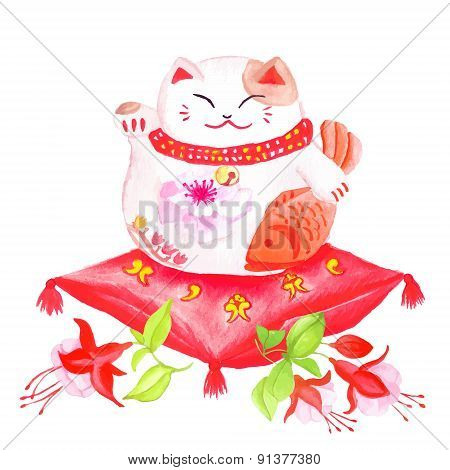 Chinese Lucky Cat Sitting On The Red Pillow With Fuchsia And Waving Paw