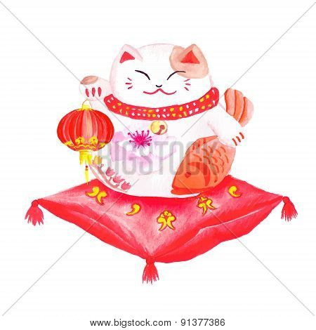 Chinese Lucky Cat Sitting On The Red Pillow And Holding The Lantern