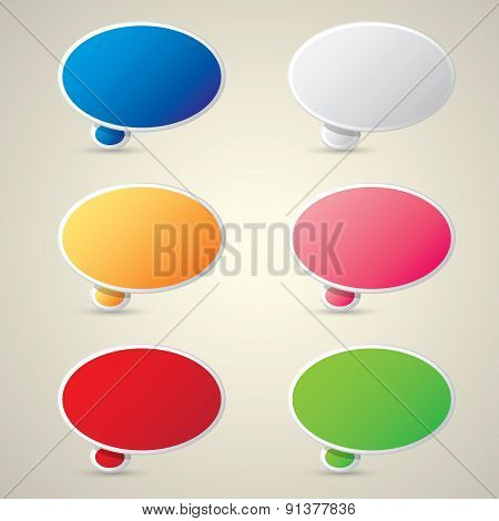 color vector paper speech bubble set.