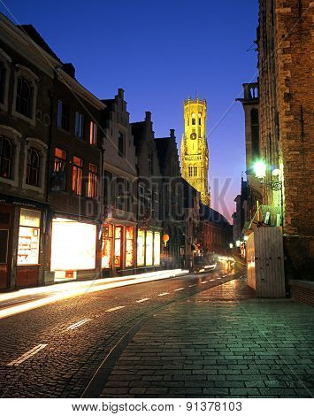 Wollestraat at night, Bruges.