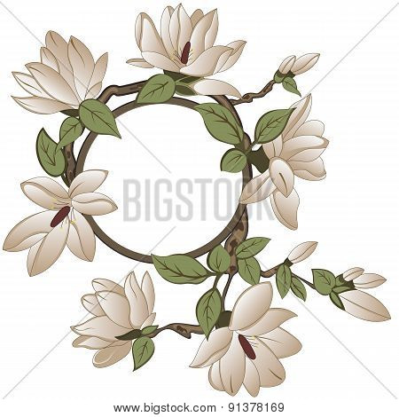 Floral Frame With Magnolia