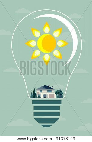 Ecology concept. Eco house and trees in the light bulb.