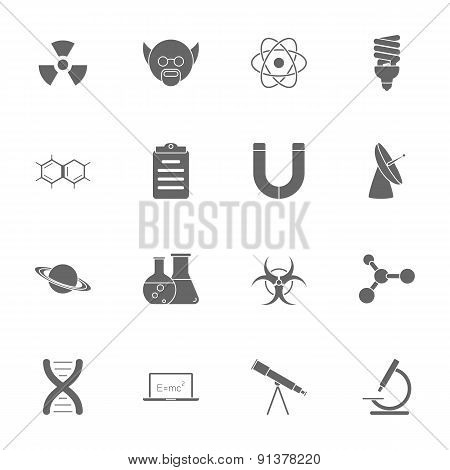 Science Silhouette Icons Set