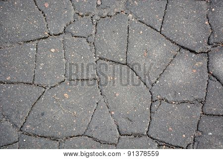 Cracked Asphalt. Picture Can Be Used As A Background