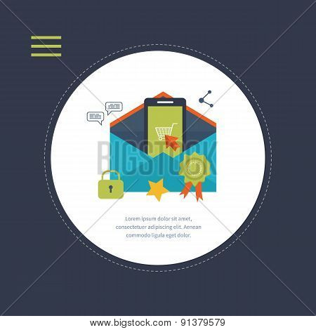 Flat design modern vector illustration icons set of mobile marketing, delivery and secure online sho