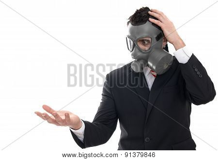 Shocked Man With Gas Mask Holding Something, Isolated On White