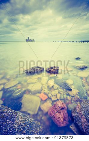 Vintage Photo Of Beautiful Baltic Sandy Coast With Old Military Buildings