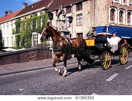 Horse drawn carriage, Bruges.