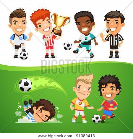 Cartoon Soccer Players and Referee