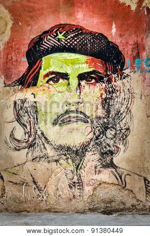 HAVANA,CUBA - MAY 20,2015 : Che Guevara portrait painted on a shabby old wall in Old Havana
