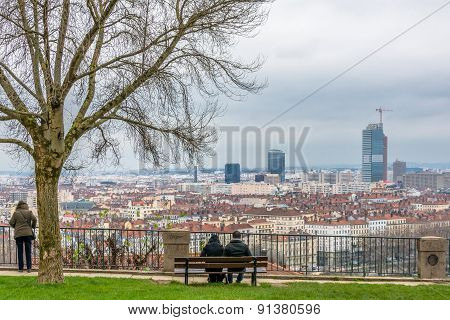 Day View Of Downtown In Lyon, France