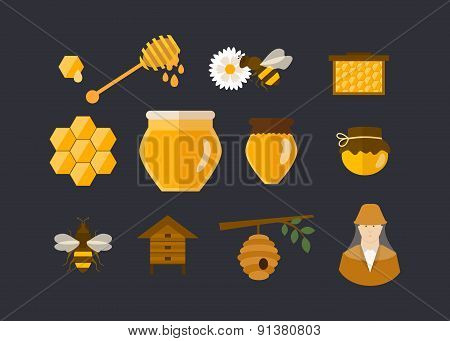 Flat design vector concept illustration with icons of  products bee-keeper garden