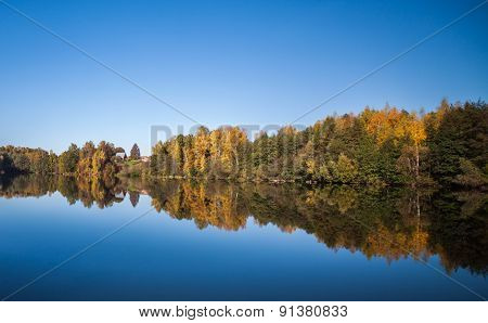 Autumn lake landscape