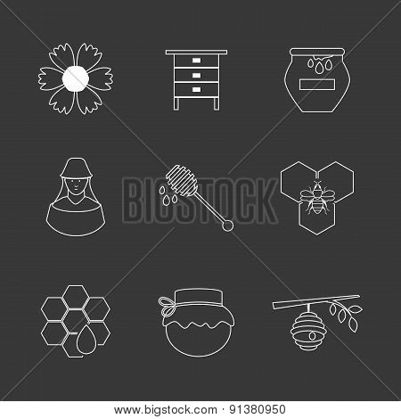 Flat design vector concept illustration with icons of  products bee-keeper