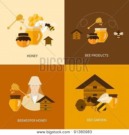 Flat design vector concept illustration with icons of  products bee-keeper, best product organic nat