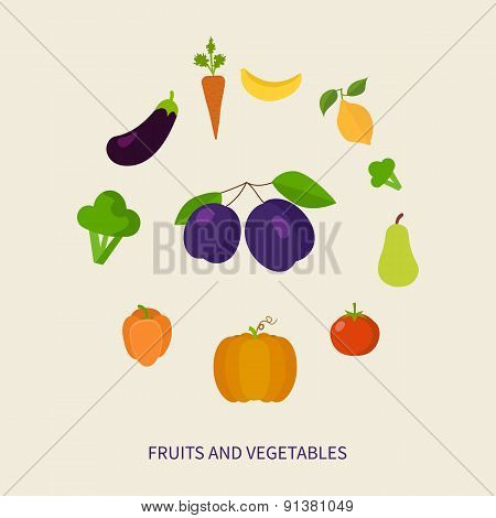 Set of fresh healthy vegetables and fruits made in flat style - each one is isolated for easy use.