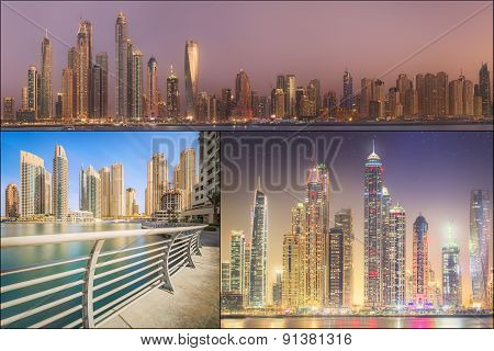 Collage of the beauty panorama at Dubai marina.