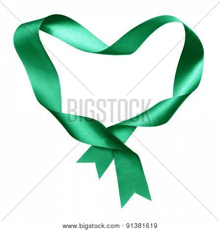 green,heart shape frame from twisted silk ribbon isolated