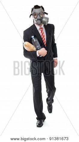 Businessman Running With Food, Survive Concept