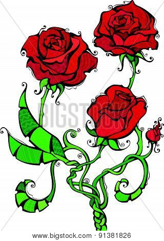 Red roses illustration.