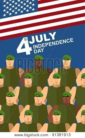4th july. American independence day. Soldiers in Green Berets. Special forces. American flag. Vector