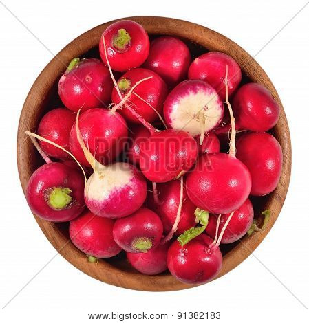 Red Radish In A Wooden Bowl On A White