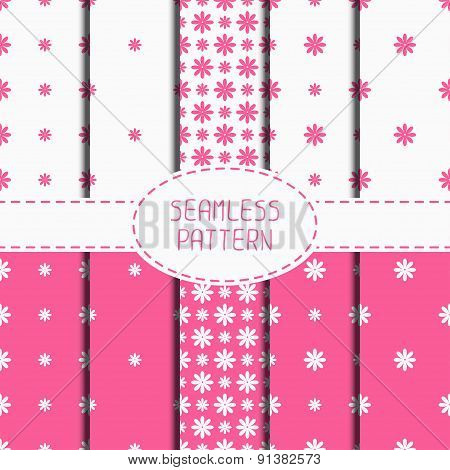 Set of pink geometric floral seamless pattern with flowers. Collection of wrapping paper. Paper for