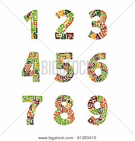 Colorful set of numbers in the ethnic style. vector