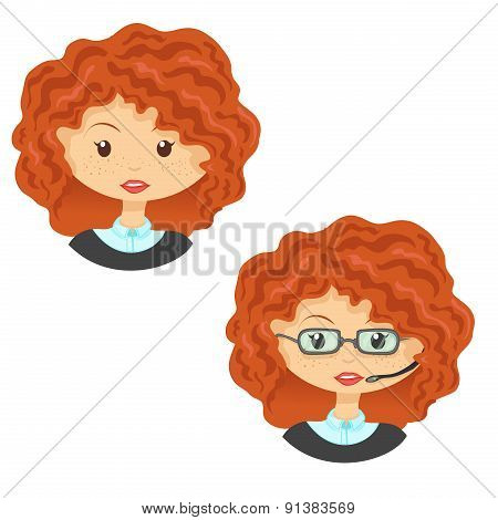 Avatar cute cartoon ginger girl in glasses with headset