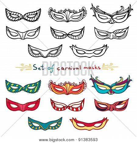 Set of carnival masks. Black and white and color. Doodle style. Vector.