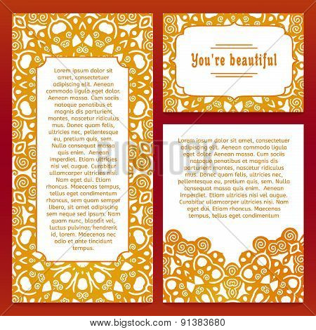 Set of templates postcards, brochures, flyers or cards with an ornament and frame in east style. Pla