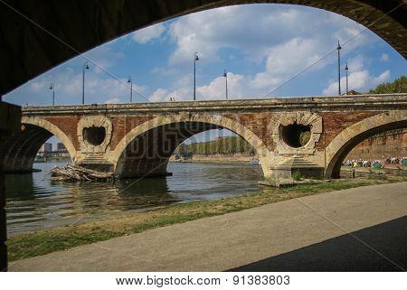 Picturesque Bridge Over  River Garonne, Toulouse, France