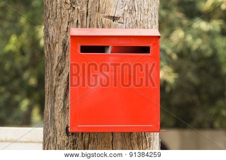 Red   post  letter  box.