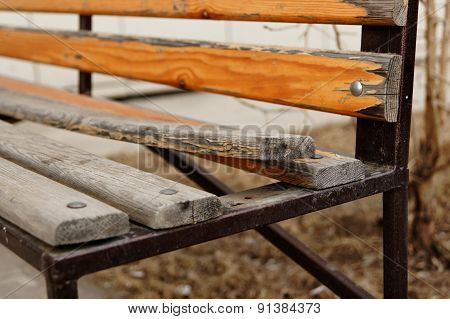 Broken Bench. Closeup