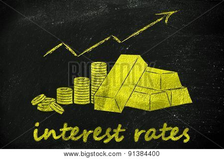 Gold Brick And Coins, Illustration About Interest Rates