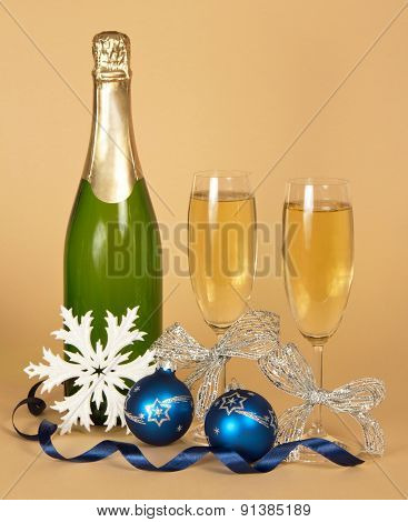 Champagne, and wine glasses