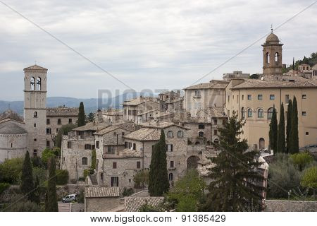 View Of Medieval Assisi Town