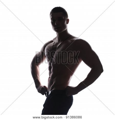 Silhouette of athlete bodybuilder man