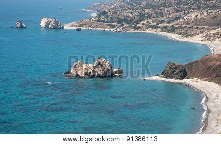 Seascape Of The Rock Of Aphrodite Beach, Paphos, Cyprus
