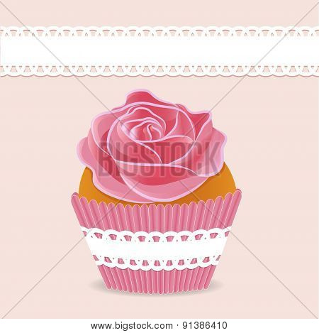 background cake cupcake with cream roses and a place for text