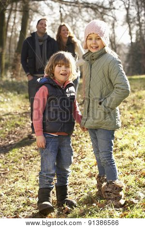 Family on country walk in winter