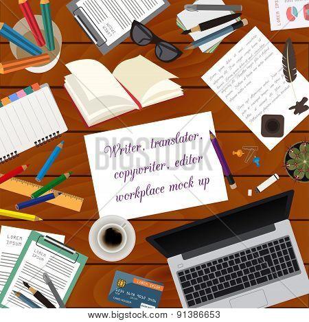 Workspace of freelancer. Mock up for creating your own modern creative office desktop workshop style