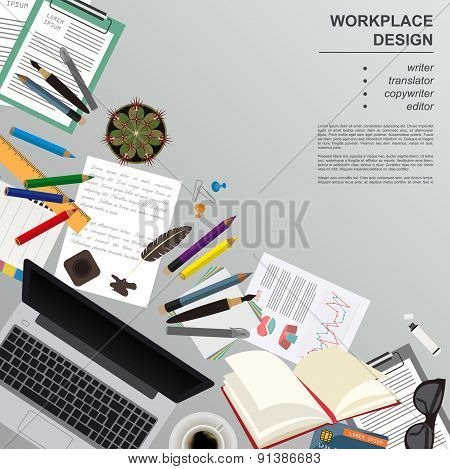 Workspace of freelancer. Mock up for creating your own modern creative office desktop workshop style