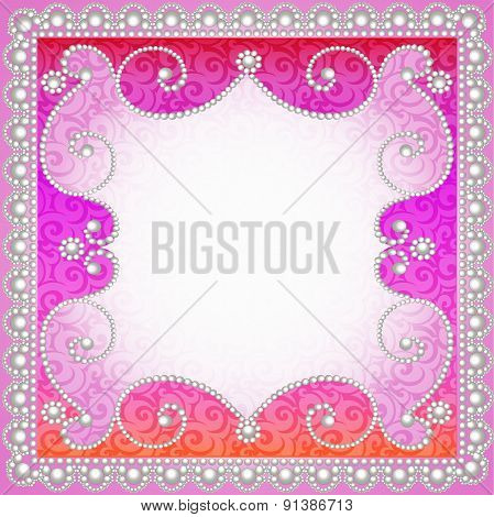 background with vintage ornamented with pearls