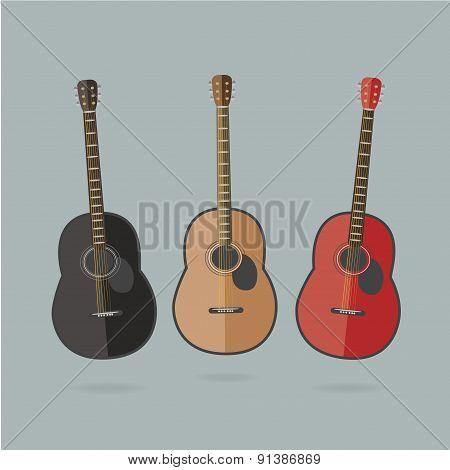 3 flat colorful guitars