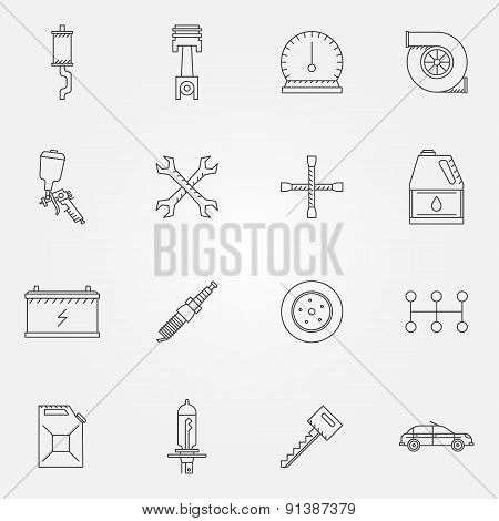 Auto service or repair icons