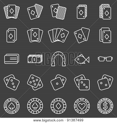 Poker or casino icons set on black background