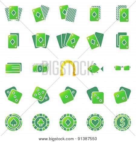Poker or casino icons set